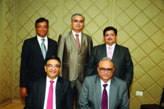 Seated from L to R: S/Shri Vipul K. Choksi, President, Anish M. Thacker, Vice-President Standing from L to R: S/Shri Haresh P. Kenia, Hon. Jt. Secretary, Parag S. Ved, Hon. Treasurer and Ketan L. Vajani, Hon. Jt. Secretary