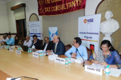 CA Bhavesh Joshi, Chairman, welcoming the speakers and members. Seen from L / R: Ms. Dhwani Sanghavi, Faculty, CA Narendra Mehta, Interact Foundation, Shri Ajay Bodke, Faculty, Shri Dilip Bhat, Faculty, CA Hinesh R. Doshi, President, CA Charu Ved, Co-ordinator.