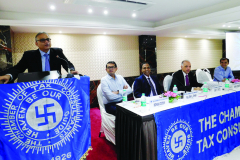CA Anish Thacker (Vice-President) giving his opening remarks. Seen from L to R: CA Ronak Doshi (Convenor), CA Rajesh L. Shah (Chairman), CA Vispi Patel (Speaker) and CA Siddharth Parek (Member)