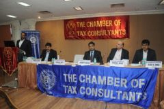 CA Naresh Sheth, Chairman, welcoming Speakers & Delegates, Seen From L to R S / CA Hemang Shah, Convenor, CA Ashit Shah, Faculty, CA Hinesh Doshi, President, CA Kush Vora, Convenor