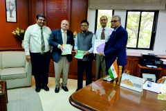 Chambers warm welcome to Mr. A. A. Shanker, new Principal Chief Commissioner of Income Tax in Mumbai, who was pleased to know about Chambers activities. Seen from L to R: S/Shri CA Hitesh R. Shah, Past President, CA Hinesh R. Doshi, President, Mr. A. A. Shanker, Pr. CCIT, CA Mahenra Sanghvi, Chairman, L & R. Committee, CA Anish Thacker, Jt. Hon. Secretary,