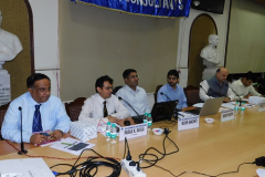 CA Paras. K. Savla (Chairman) welcoming the speakers. Seen from L to R: S/ Shri CA Kaushik Jhaveri (Member), Mr. Richie Sancheti, Advocate (Speaker), Mr. Srikanth Vasudeva, Advocate (Speaker), CA Hinesh Doshi (President) and CA Vitang Shah (Convenor)