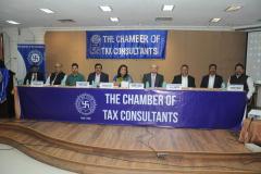 Dignitaries on dais, Seen from L to R – Mr. Devendra Jain, Advocate, (Chairman) Mr. Ashok Kumar Jha (CIT(A) TDS, Mumbai), Mr. Kumar Sanjay (CIT TDS, Mumbai), Mr. Pratap Singh (CIT (TDS), Mumbai), Ms. Anuradha Bhatia (Principal Chief CIT TDS, Mumbai) CA Hinesh Doshi (President), Mr. V. K. Gupta (CIT (TDS), Mumbai), Mr. Sunil Sharma (CIT-CPC, Ghaziabad) and CA Dinesh Poddar (Vice-Chairman)